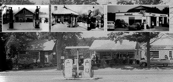 Inset, L to R: Devitt's Garage, 1930s; Fred Neuman's Garage, 1930s; Lester Klein's Mobil, 1950s. Background: Devitt's Garage Shell, 1964